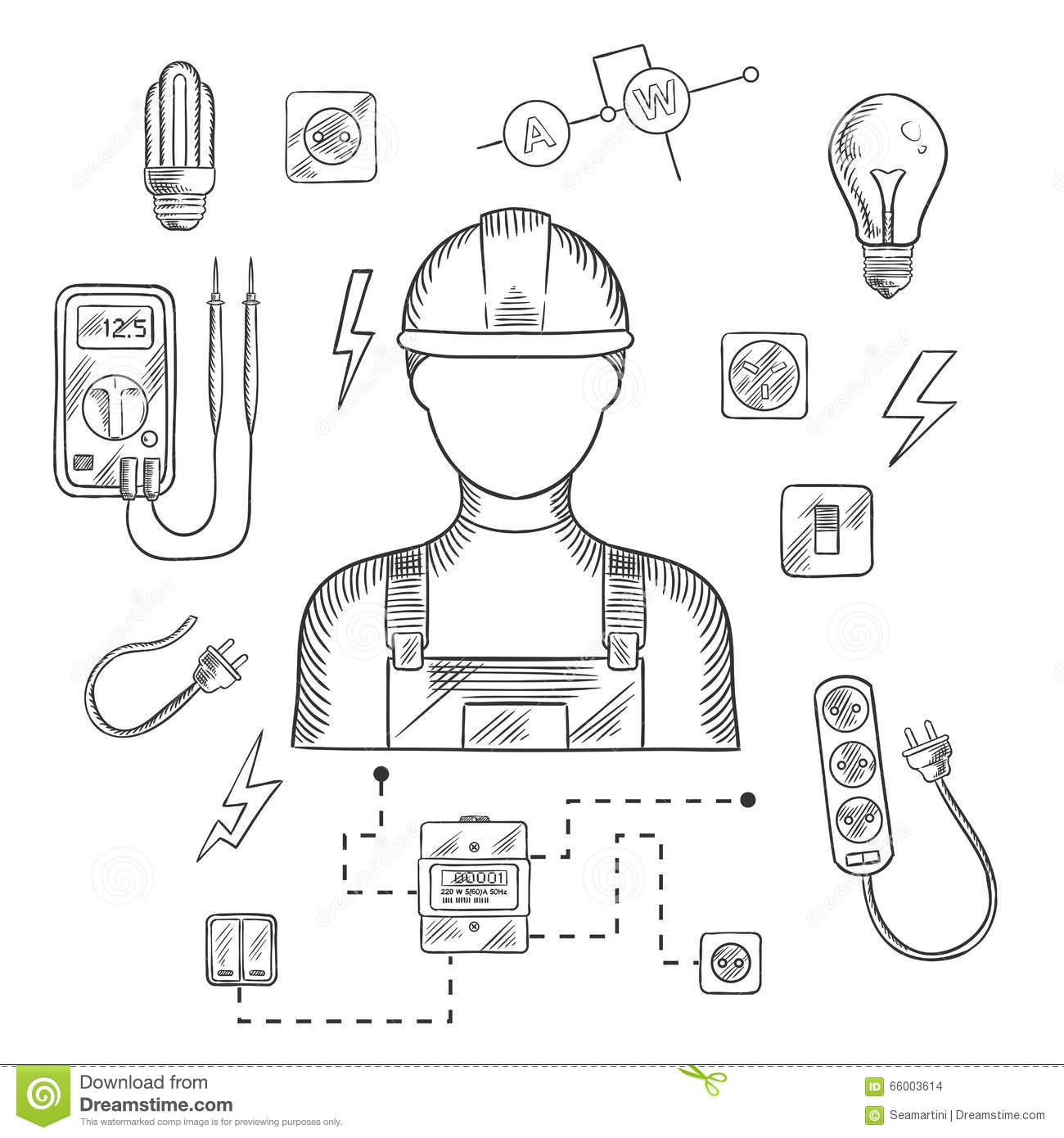 professional electrician with tools and equipment stock vector