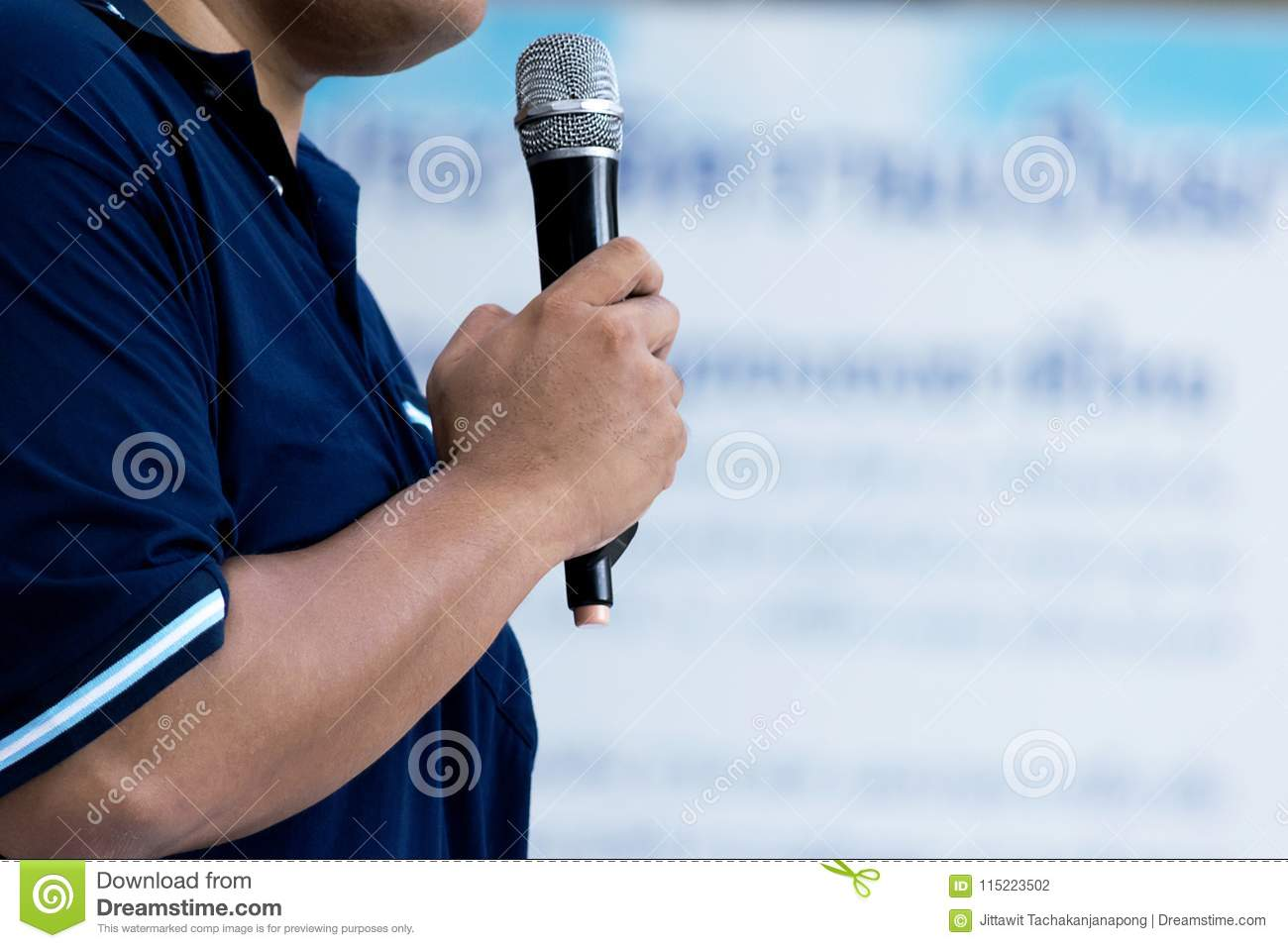 Professional fat Man Speaks During Presentation