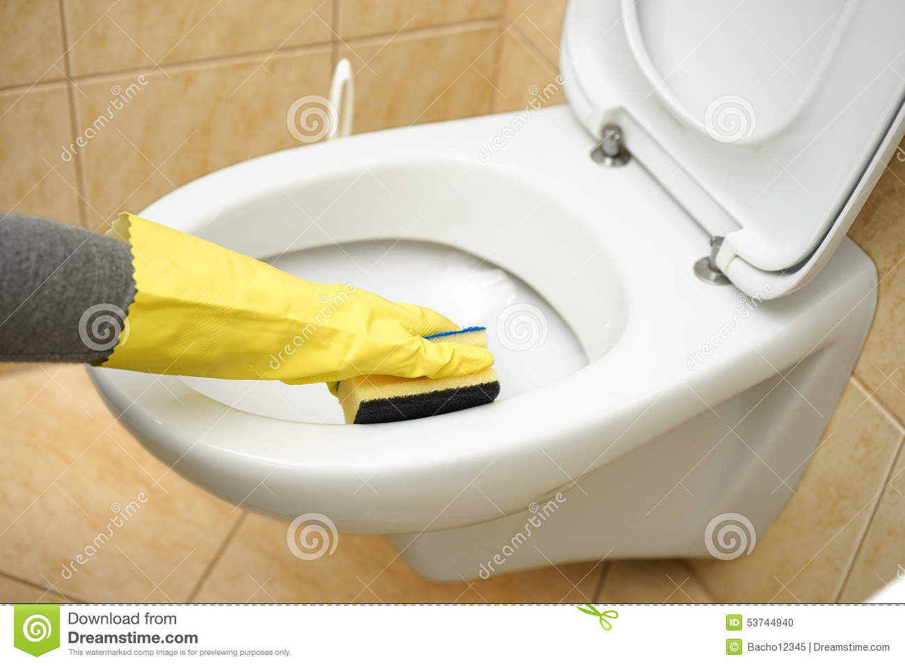 Professional female cleaner is cleaning toilet in bathroom - How to professionally clean a bathroom ...