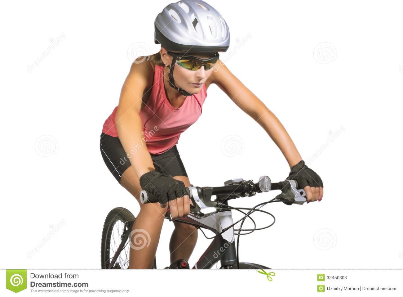 Professional Female Cycling Athlete Riding Mountain Bike ...
