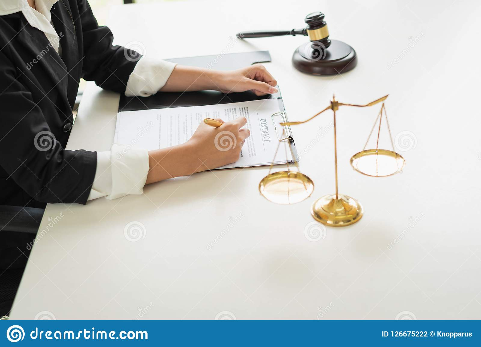 Professional female lawyers working at the law firms. Judge gave