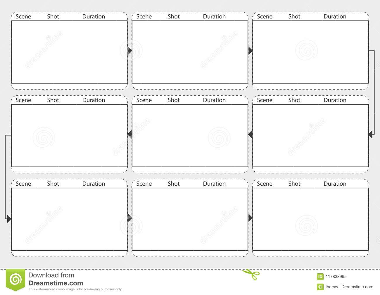 Professional Of Film Storyboard Mockup  Template For Easy To Present