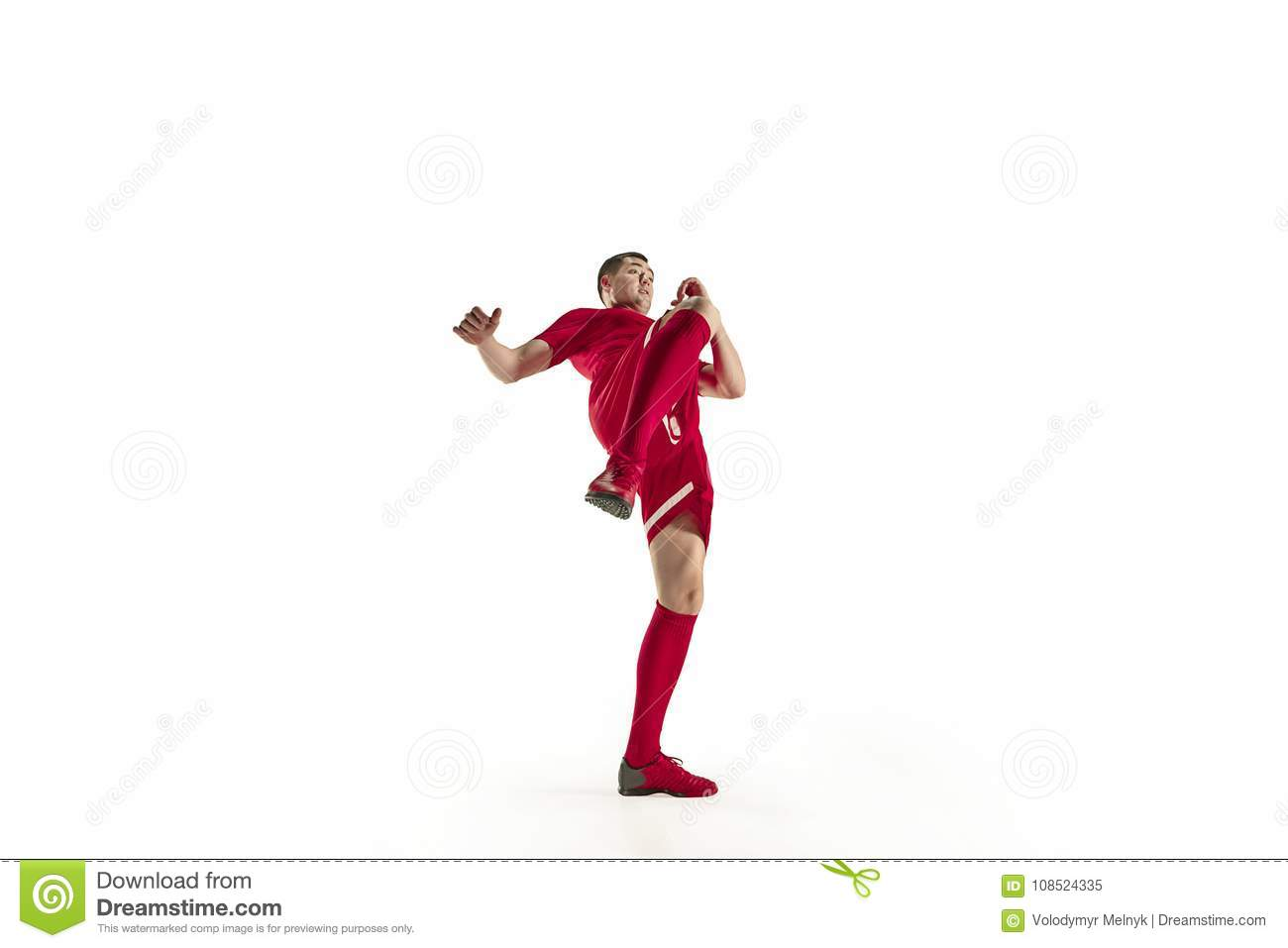 Professional football soccer player in motion isolated on white studio  background 87203b9ccfc