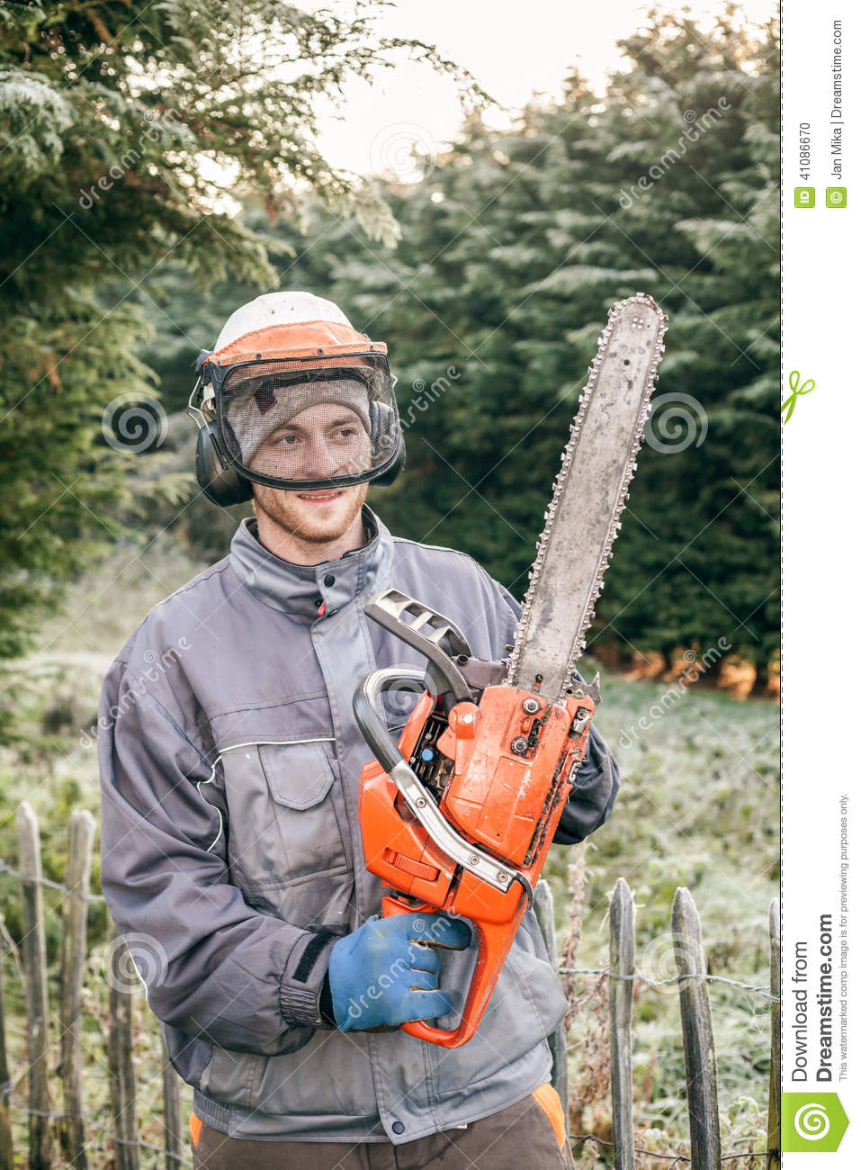 Professional Gardener With Chainsaw Stock Photo Image