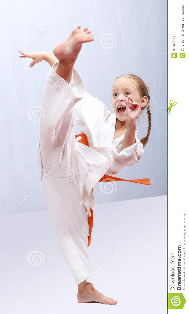 Professional Girl Does Karate Kick Stock Image Image Of