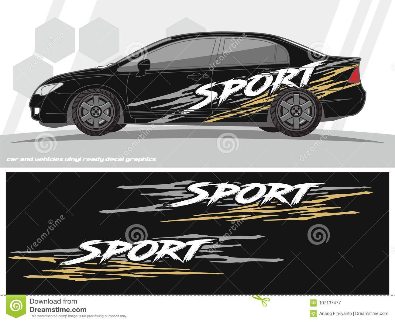 Sporty car and vehicles decal graphics kit designs ready to print and cut for vinyl