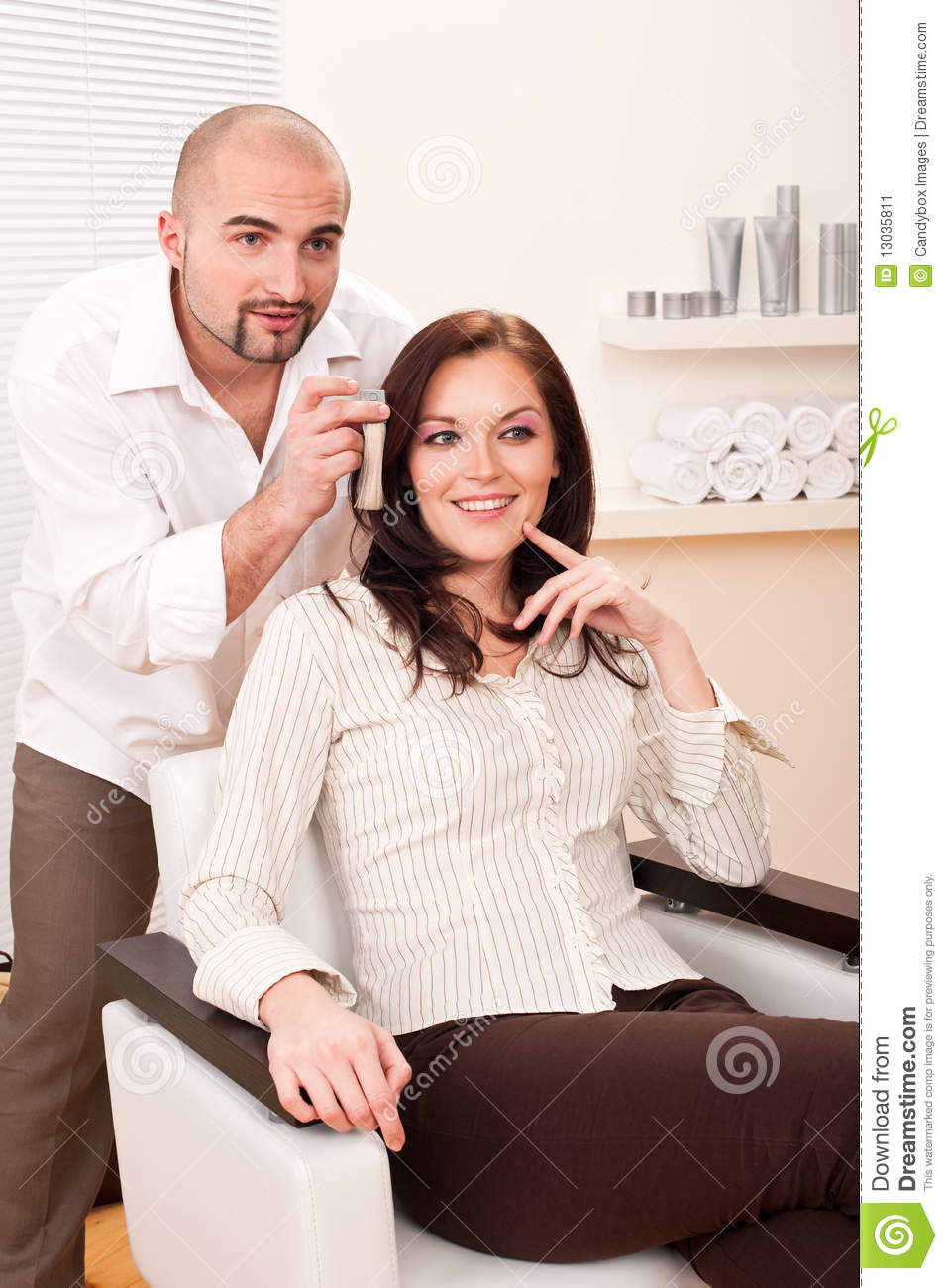 Professional Hairdresser : Professional Hairdresser Choose Hair Dye Color Stock Image - Image ...