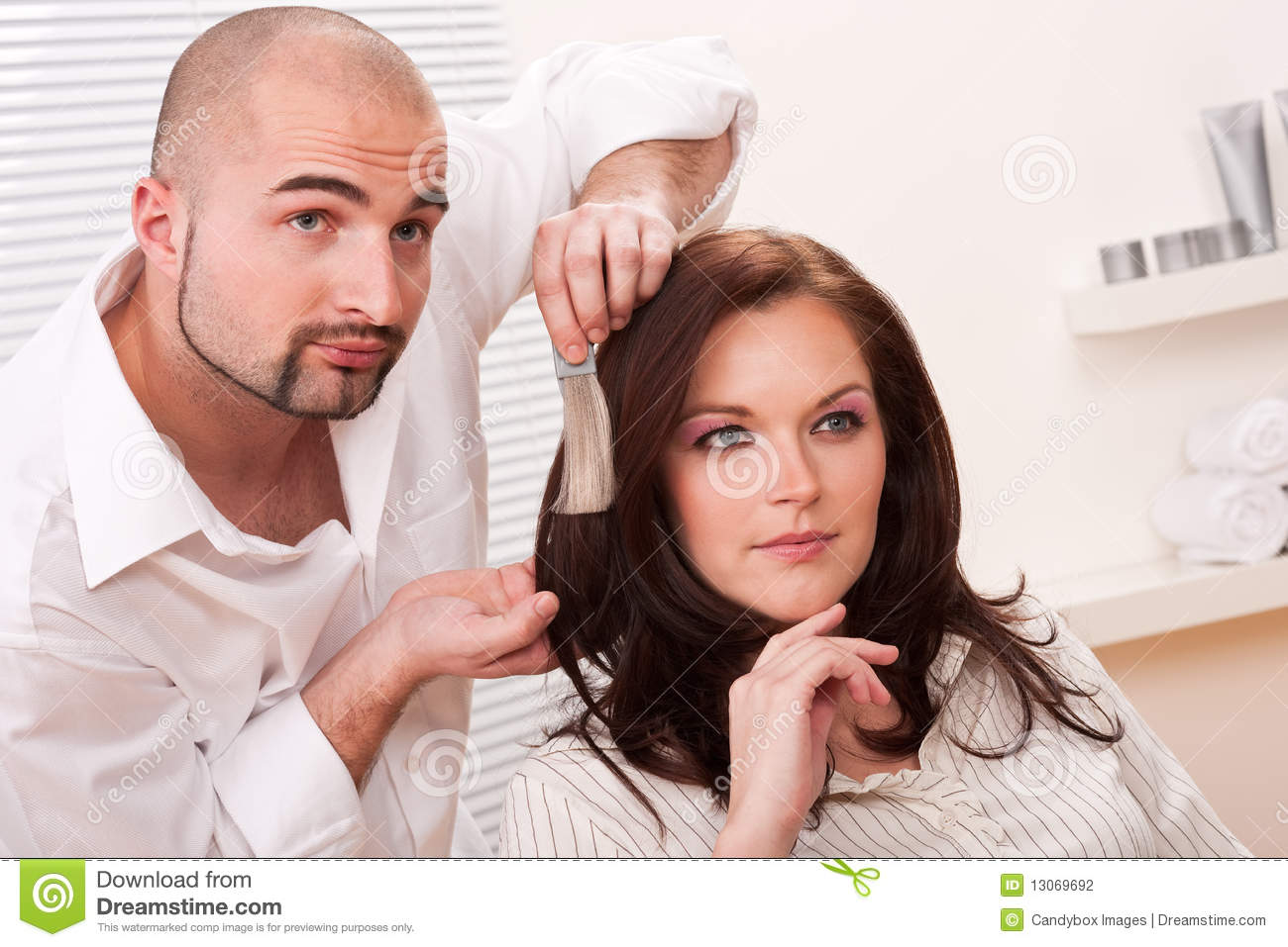 Professional Hairdresser : Professional Hairdresser Choose Hair Dye Color Stock Photography ...