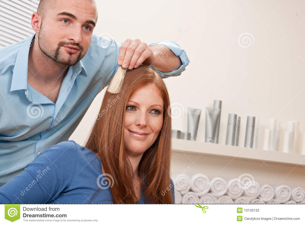 Professional Hairdresser : Professional Hairdresser Choose Hair Dye Color At Salon With Customer ...