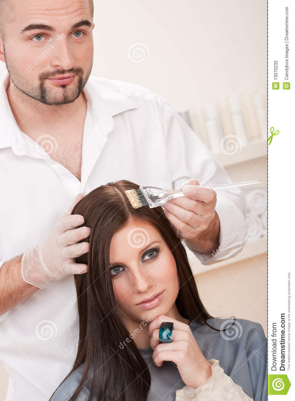Professional Hairdresser : Professional Hairdresser Color Customer At Salon Stock Photography ...