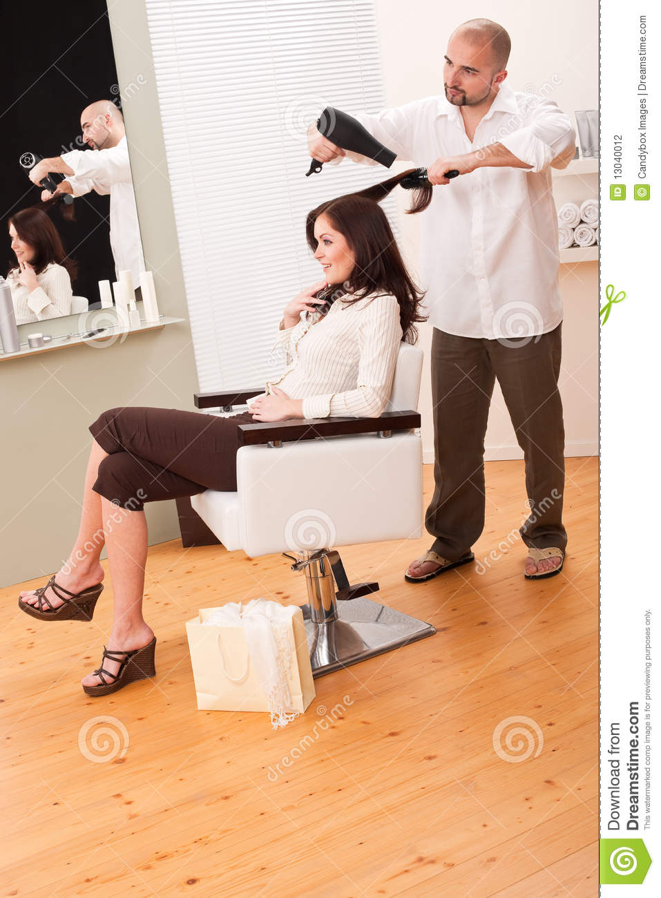 Professional Hairdresser : Professional Hairdresser With Hair Dryer Stock Photography - Image ...