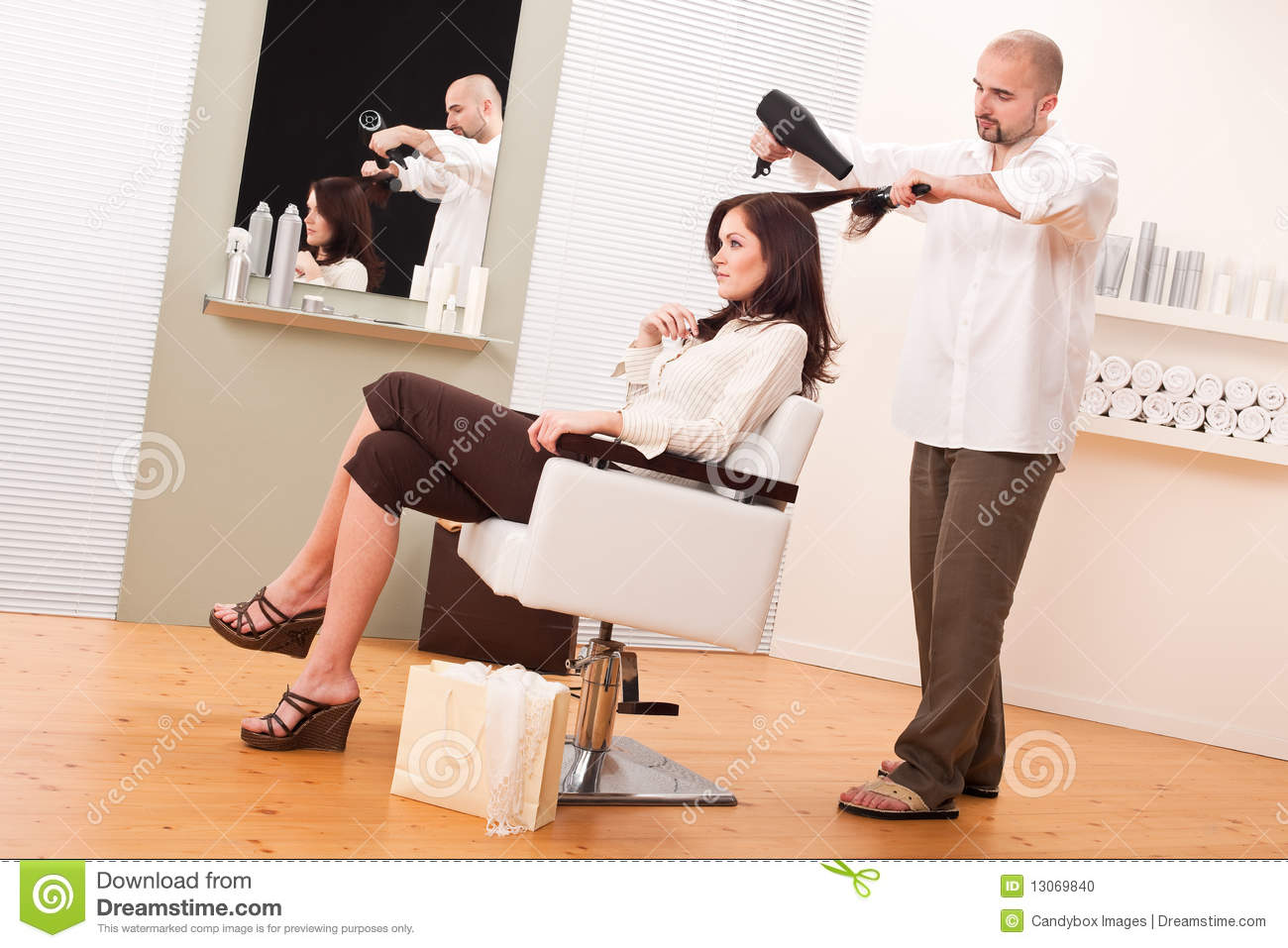 Professional Hairdresser : Professional Hairdresser With Hair Dryer At Salon Stock Photo - Image ...