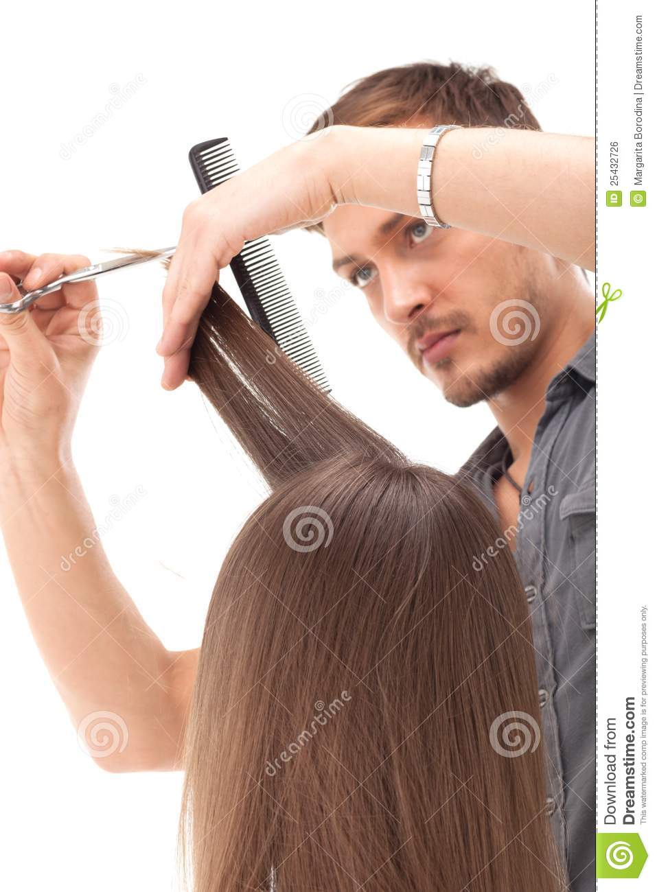 Professional Hairdresser : Professional Hairdresser With Long Hair Model Royalty Free Stock Image ...