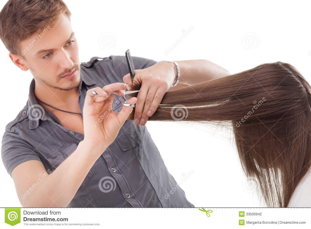Professional Hairdresser : Professional Hairdresser With Long Hair Model Stock Photography ...