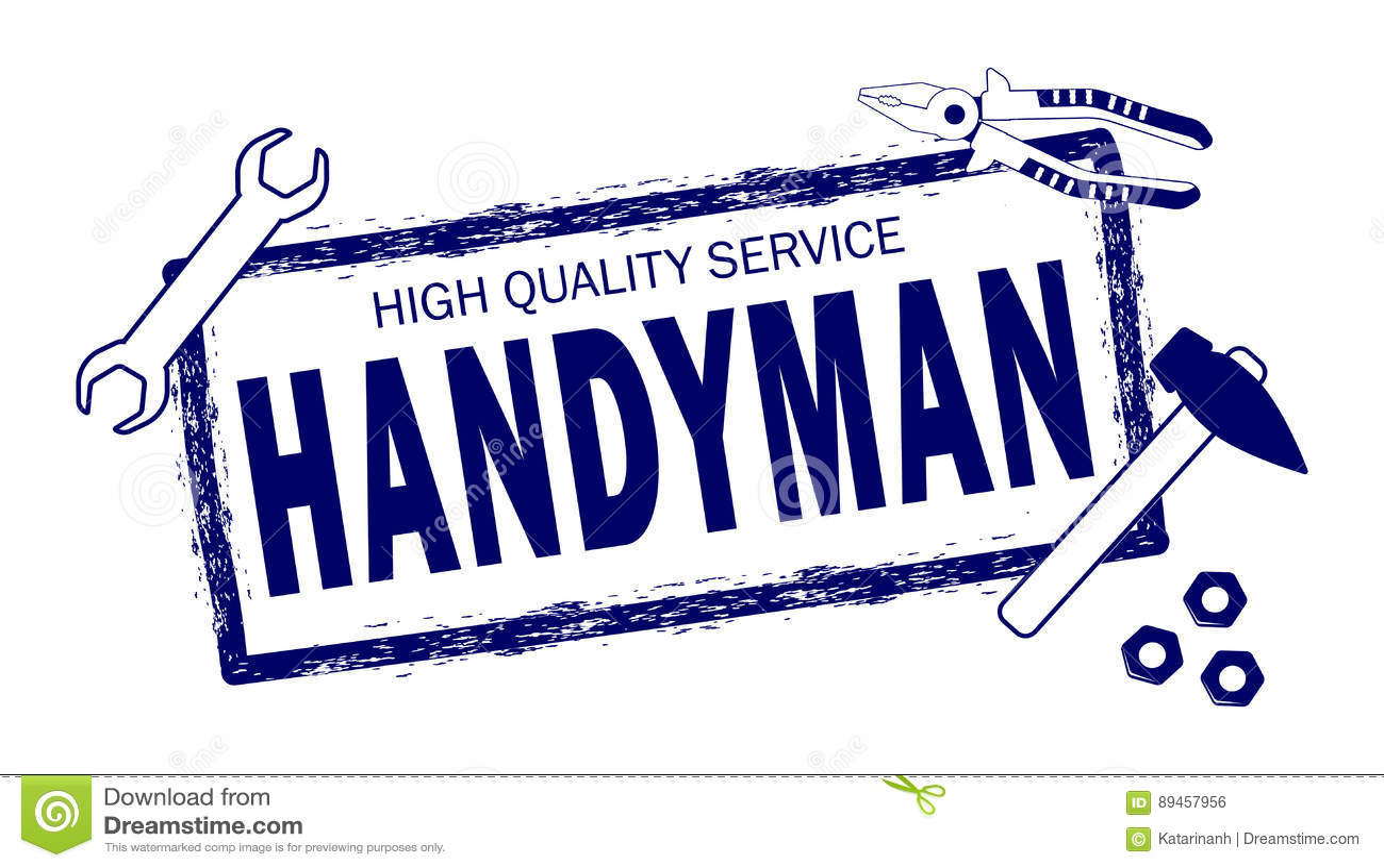 Professional Handyman Services Logo  Stamp Handyman In Blue