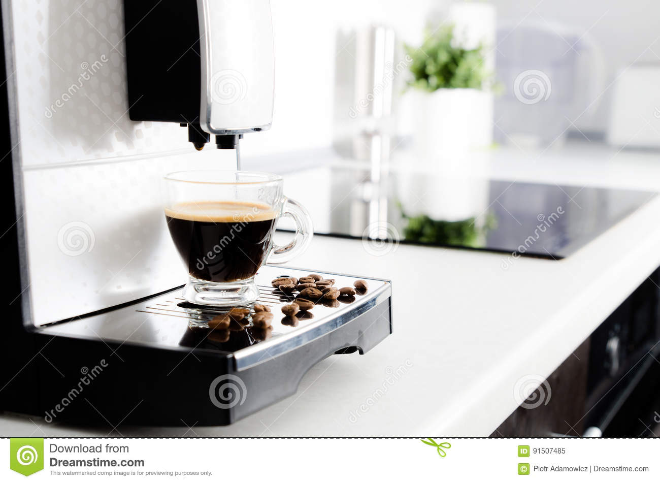 Professional Home Coffee Maker In Modern Kitchen Stock Image - Image ...