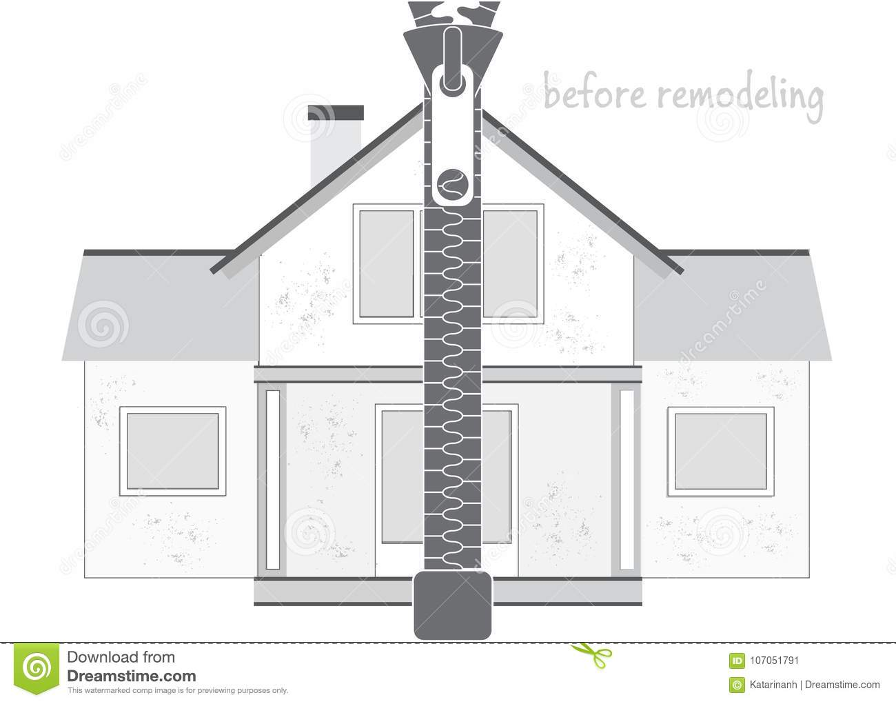 Professional House Remodeling Silhouette Of An Old