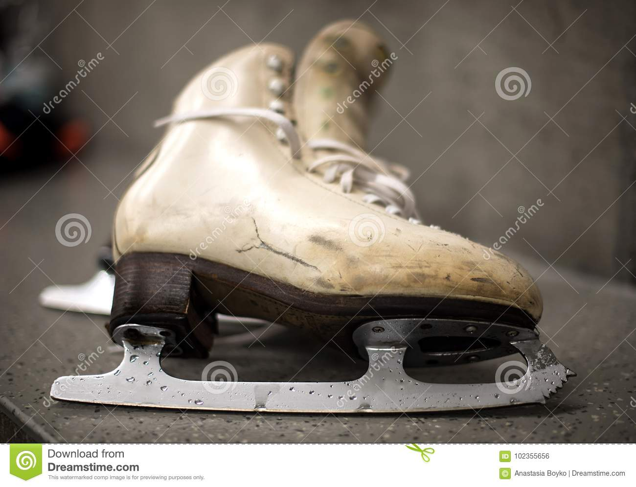 professional ice skating shoes in dressing room stock photo image