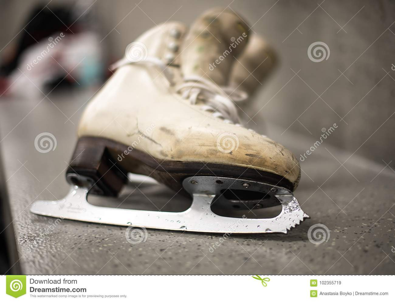 professional ice skating shoes in dressing room stock image image