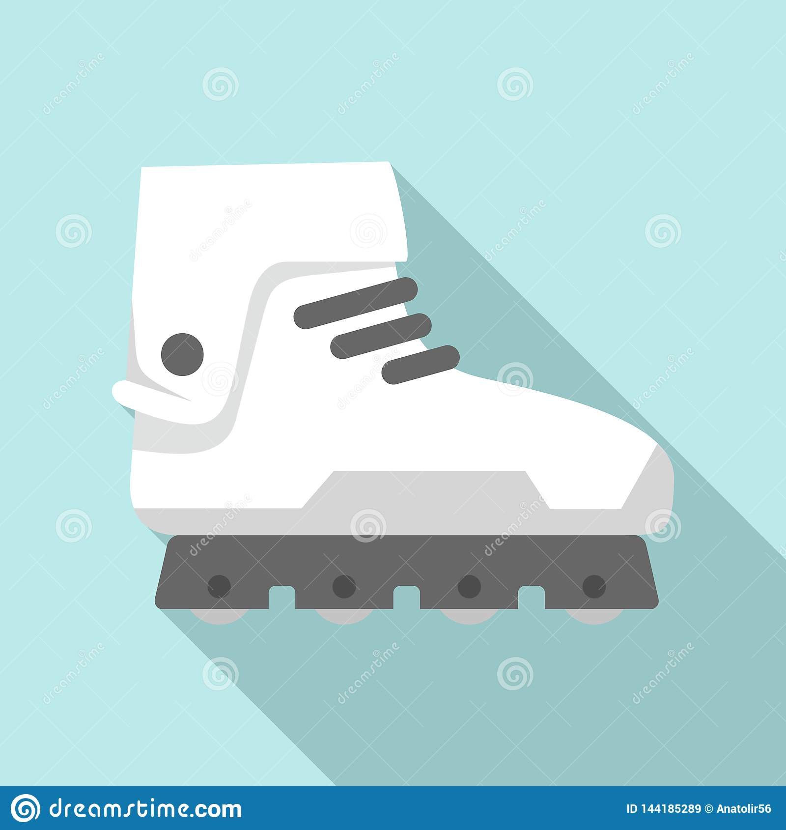 Professional Inline Skates Icon, Flat Style Stock Vector