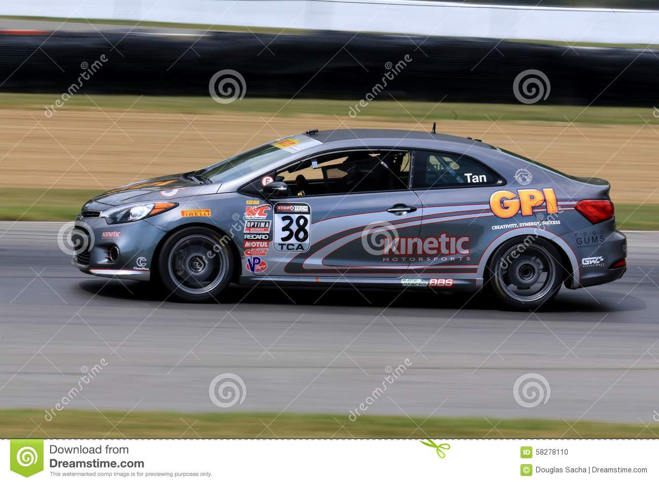 Professional Kia Forte Koup Race Car On The Course Editorial