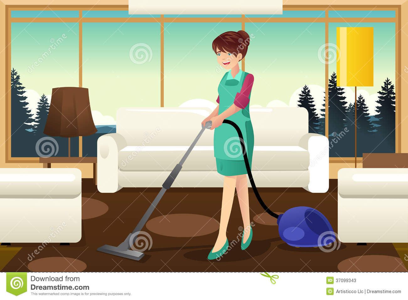 Professional Maid Vacuuming Carpet Stock Photos Image