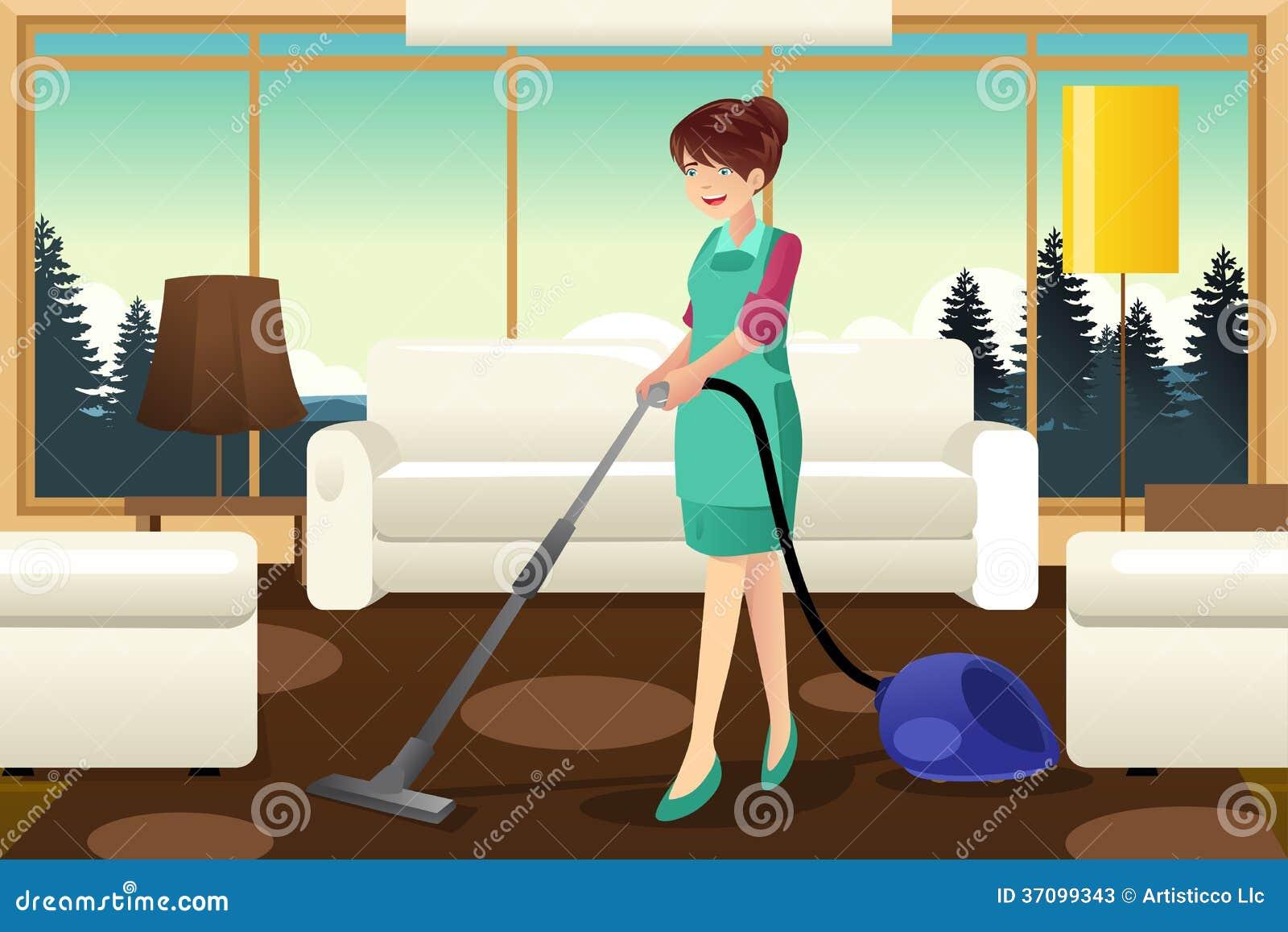 Professional Maid Vacuuming Carpet Stock Photos Image