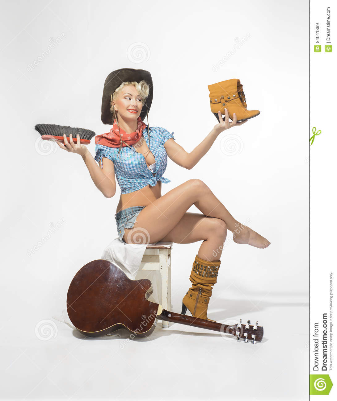 Super Sexy Rodeo Cowgirl In Shorts Jeans Boots Royalty Free Stock Photography Cartoondealer