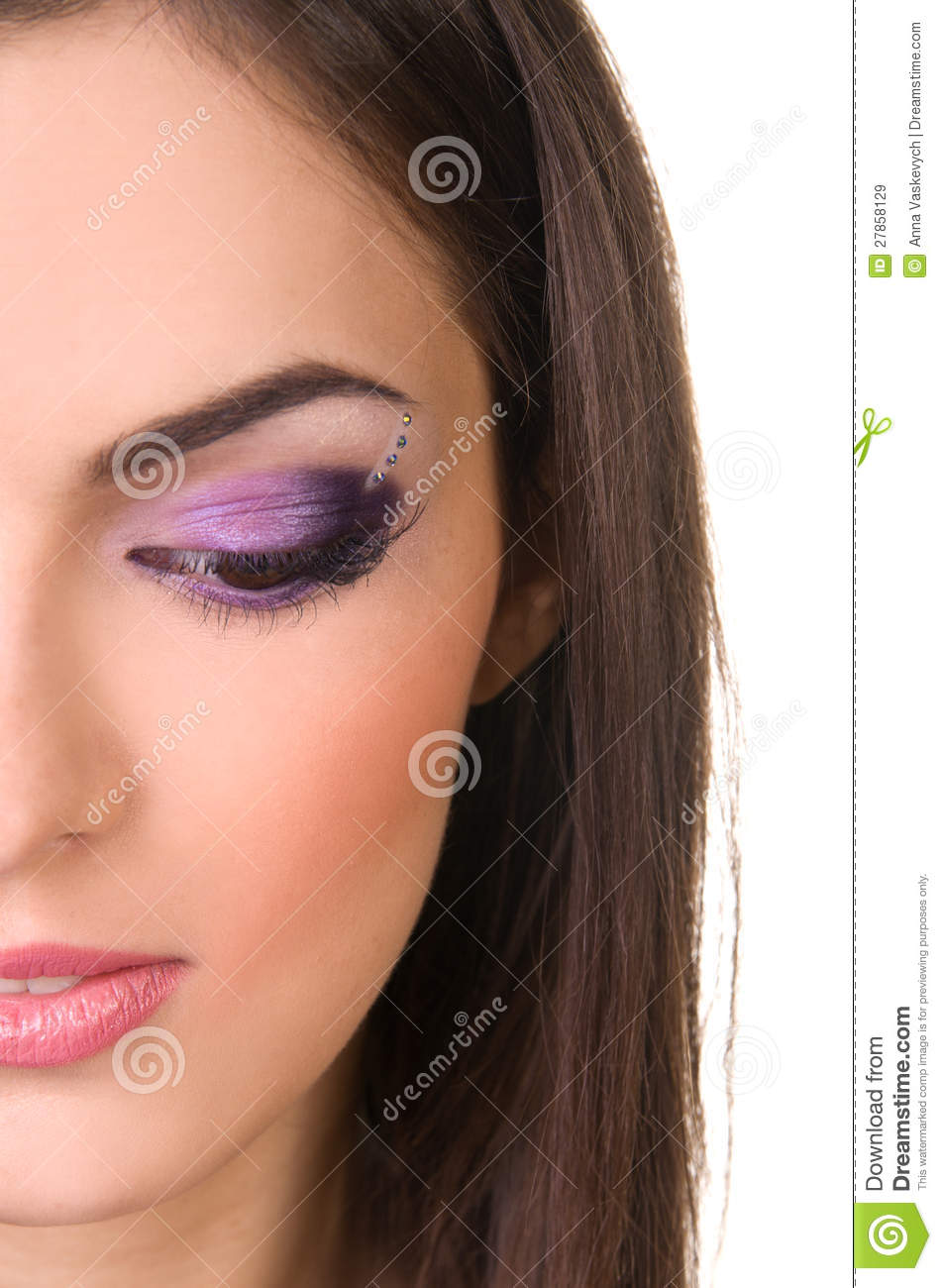 Professional Make Up Artist: Professional Make-up In Purple Stock Photo