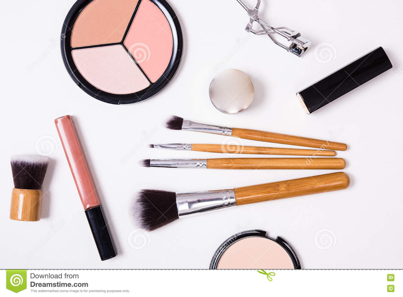 Professional Makeup Tools, Flatlay On White Background ...