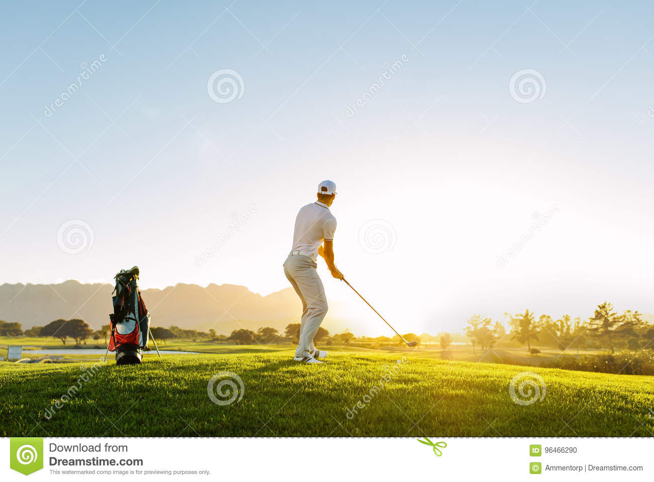 Professional male golfer taking shot on golf course