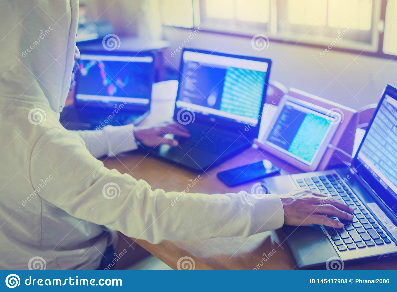 Developer Is Designing Software On Paper Chart With Multi Computer And Tablet Stock Photo Image Of Flowchart Language 145417908