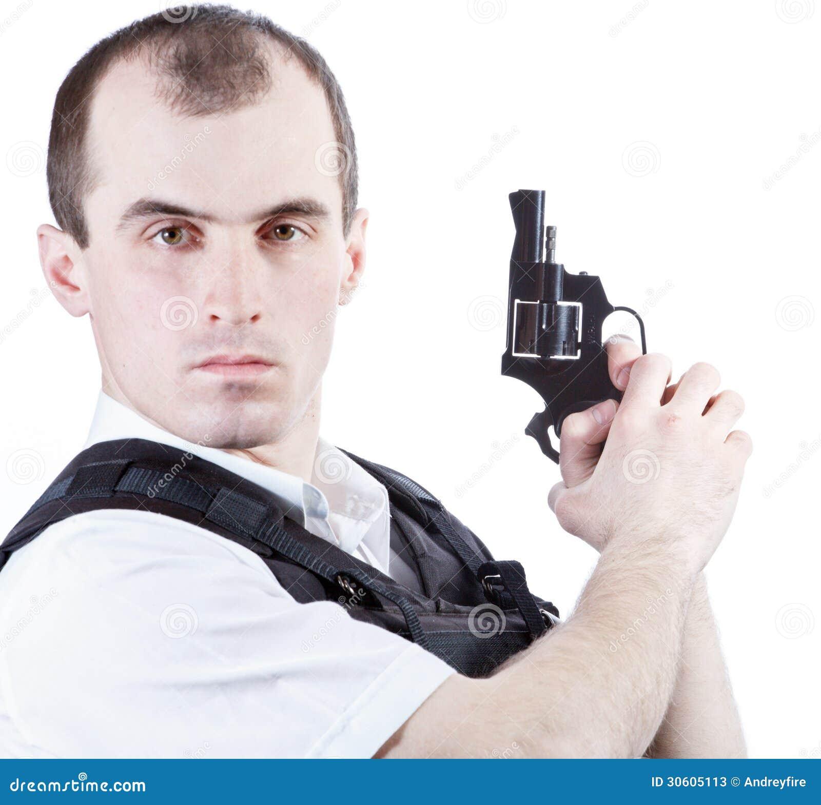 Professional man with gun