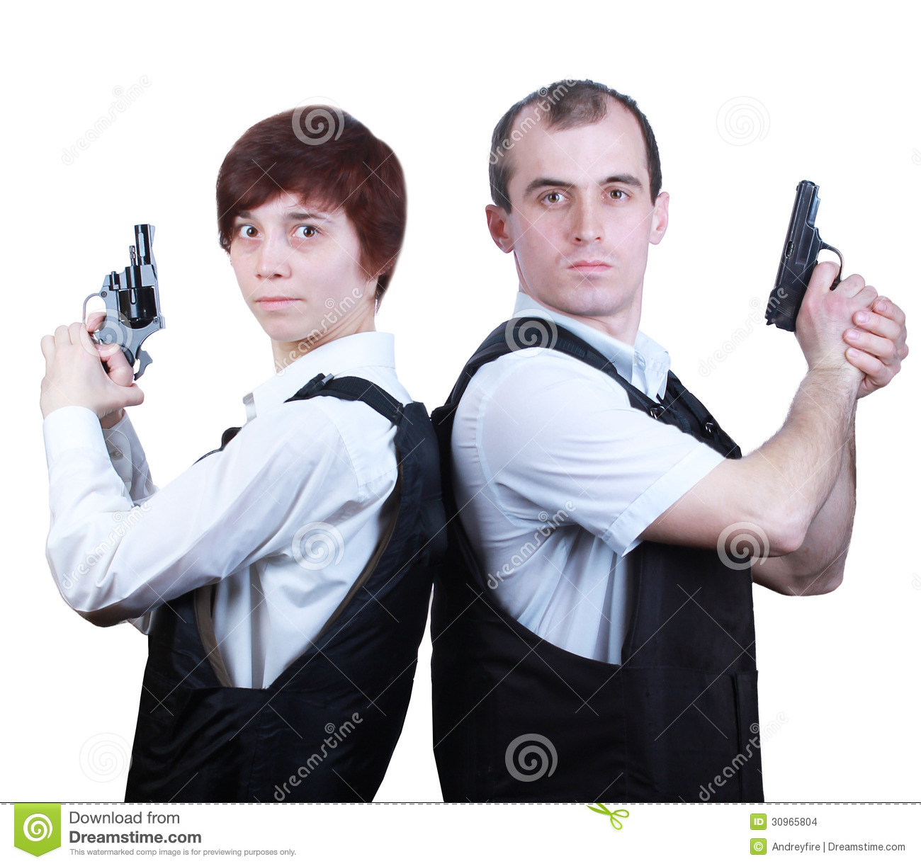 Professional man and woman with guns