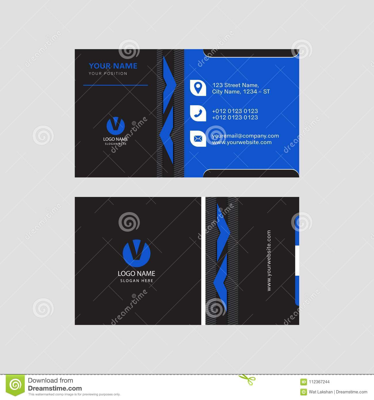Professional Modern Blue And Black Color Business Card Invitation ...