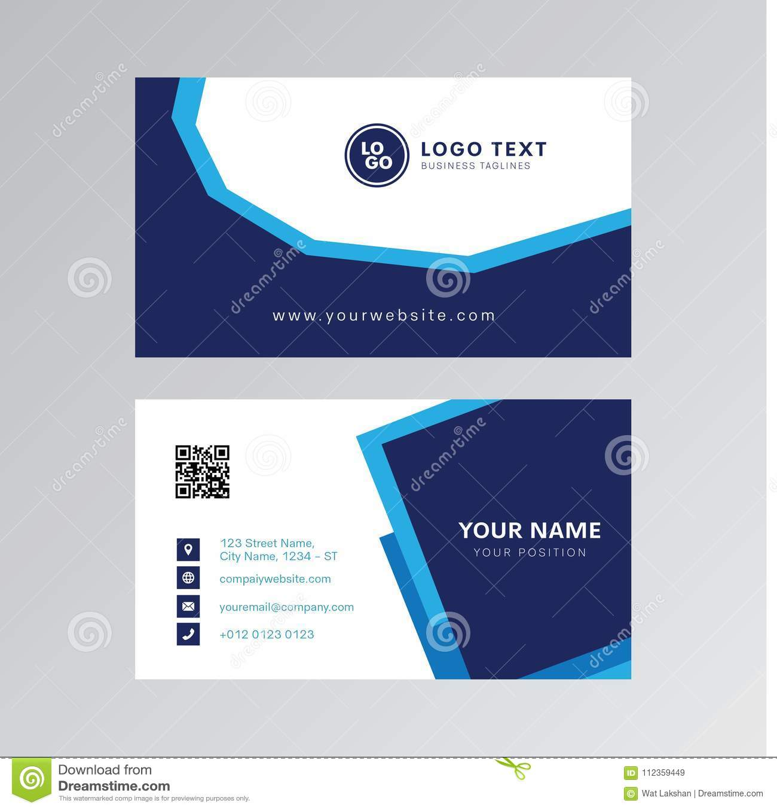 Professional Modern Blue Color Business Card Invitation Card Design Stock  Vector - Illustration of product, design: 112359449