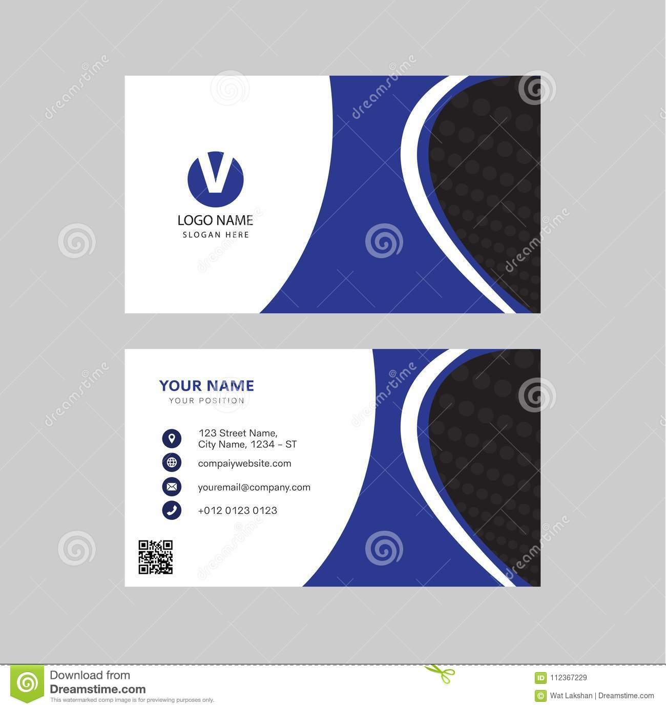 Professional Modern Blue Color Business Card Invitation Card