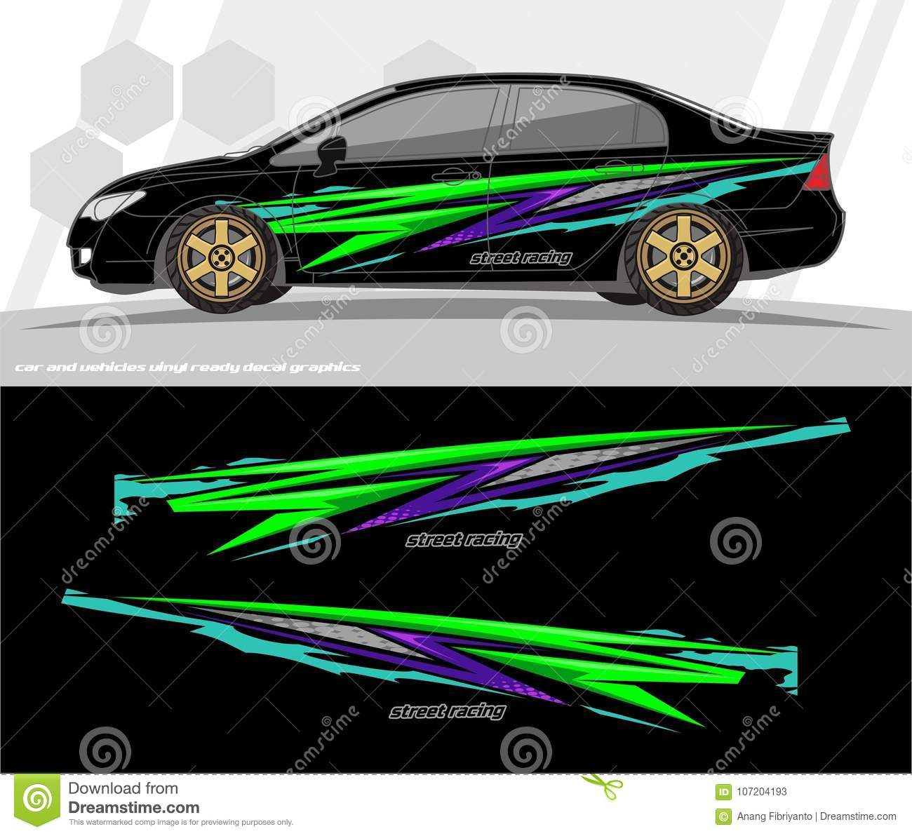 Car and vehicles wrap decal graphics kit vector designs ready to print and cut for vinyl stickers