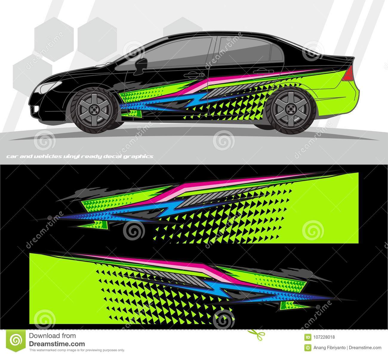 Car and vehicles wrap decal graphics kit vector designs ready to print and cut for