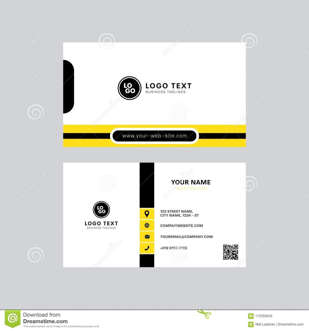 Professional modern yellow and black color business card invitation card design