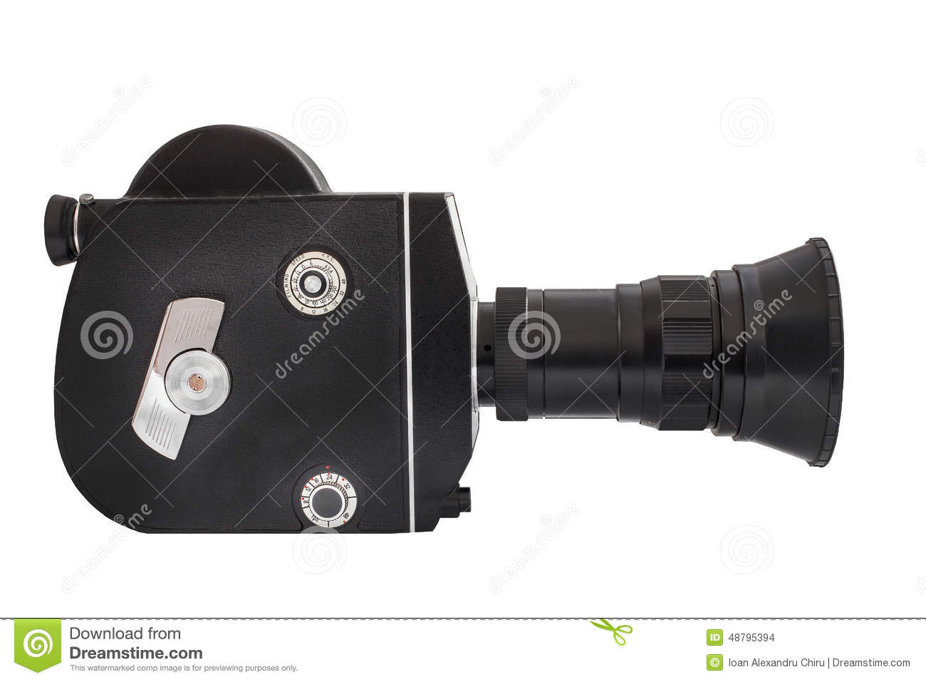 Professional movie camera on 16mm film, isolated on white background