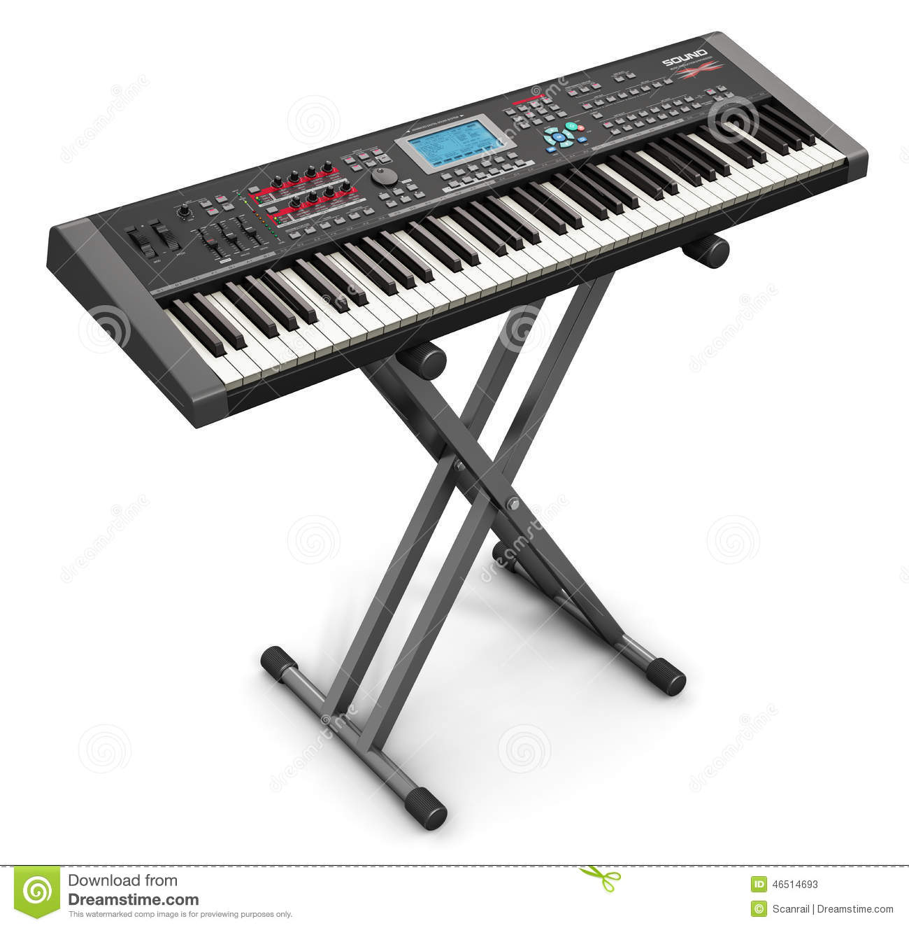 Electronic Musical Instruments : Professional musical synthesizer on stand stock