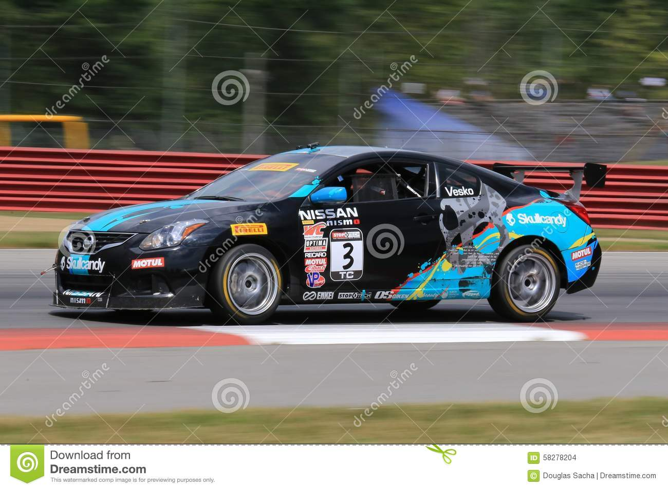 professional nissan altima race car on the track editorial stock