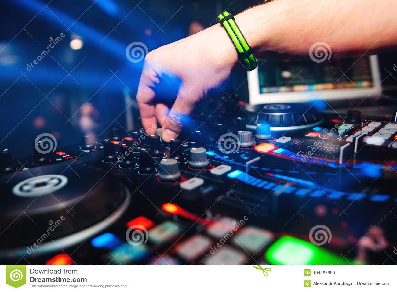 Professional Panel Dj Mixer With Hand Controlling Mixing Music In Audio Wiring Plans For Nightclub