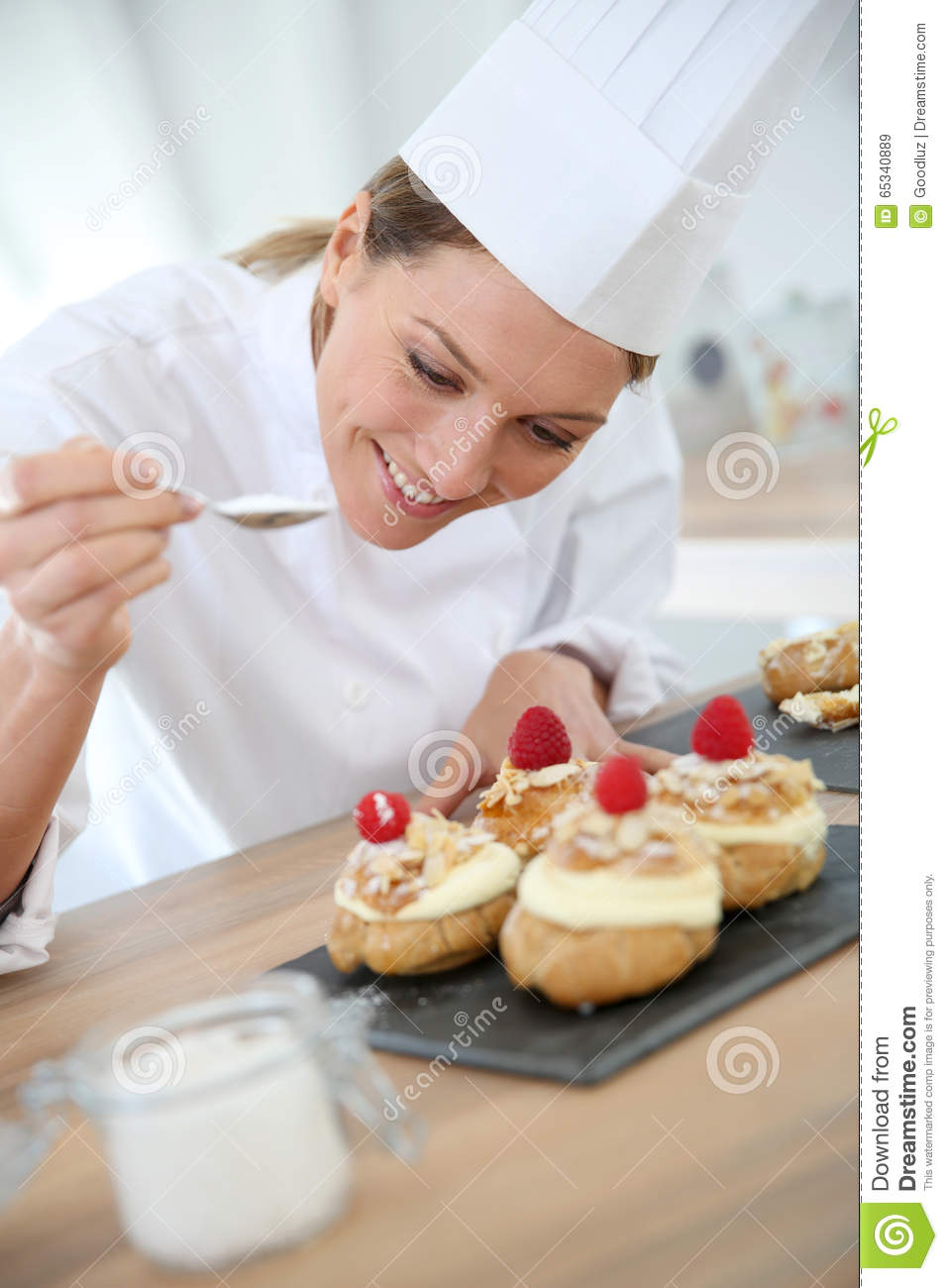professional pastry chef making deserts stock image image of