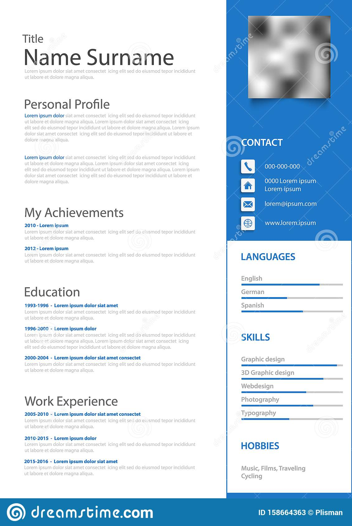 Professional Personal Resume Cv With Blue Highlight Template Stock