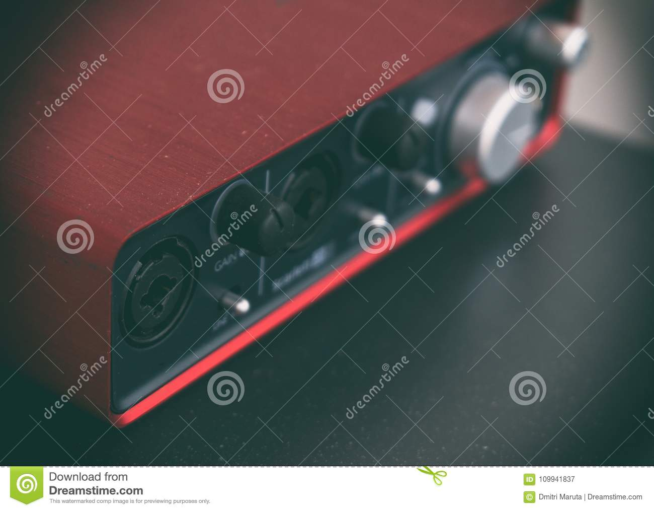 Professional Portable Red Sound Card  Stock Image - Image of switch