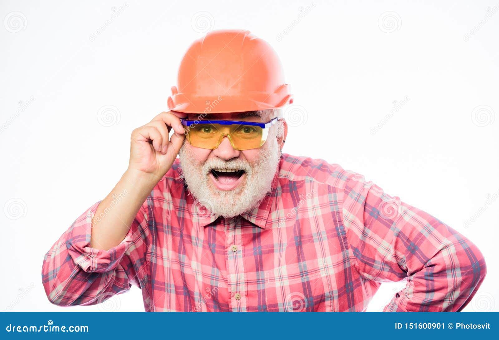 Professional repairman in helmet. architect repair and fix. engineer worker career. mature bearded man in hard hat. man