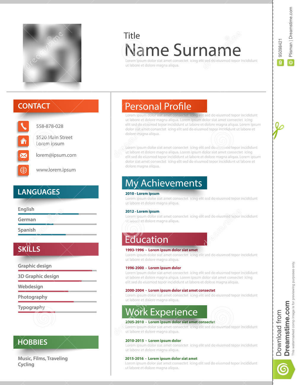 Professional Resume Cv With Color Stickers Template Stock Vector ...