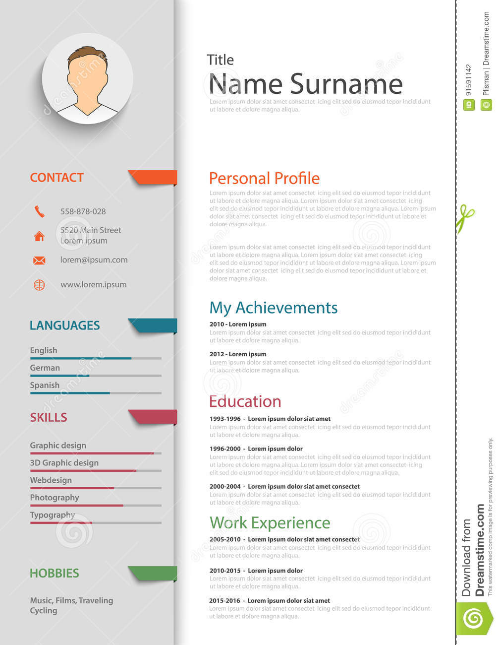Professional Resume Cv With Colored Bookmarks Template Stock Vector